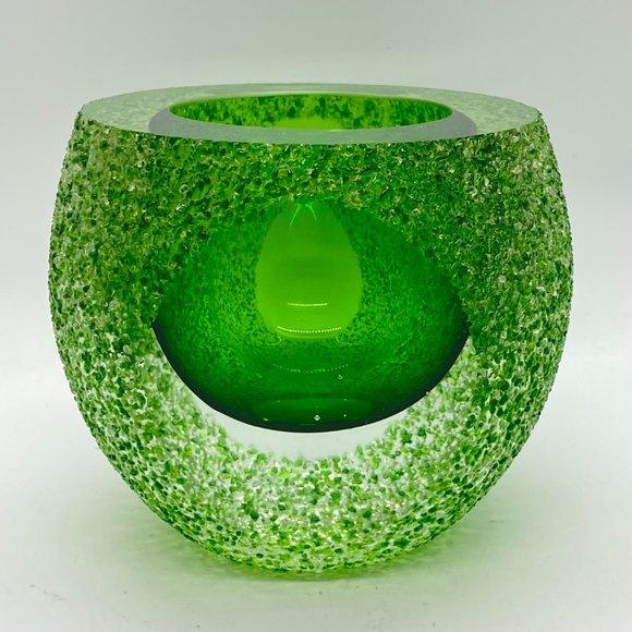 MCM OVERSHOT Hand-blown Green Glass Candleholder